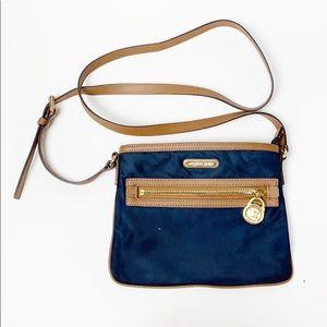 Michael Kors Navy Blue and Leather Nylon Crossbody